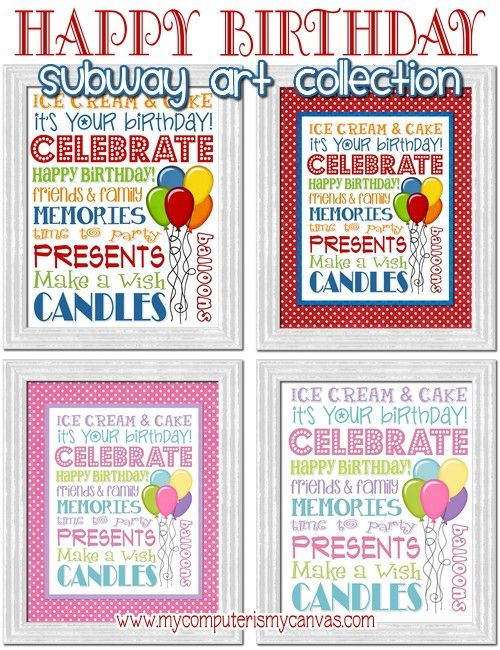 HAPPY BIRTHDAY Subway Art Collection (printable)