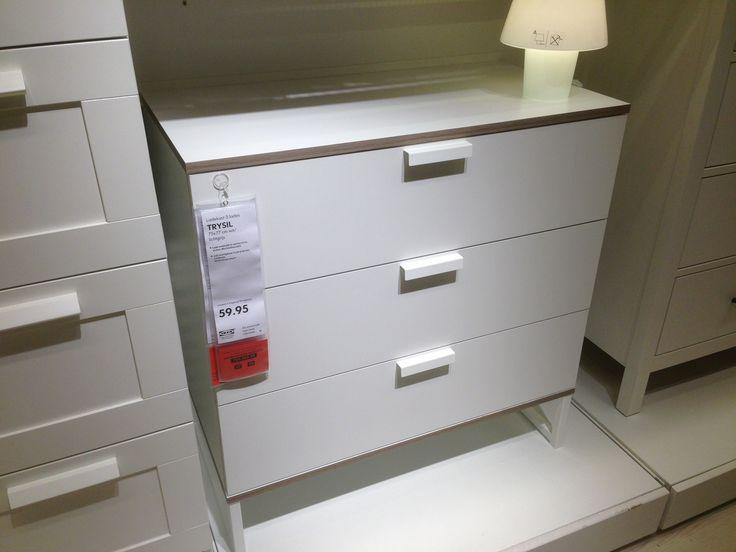 Ikea toilettafel. Wit met grijs/bruine rand