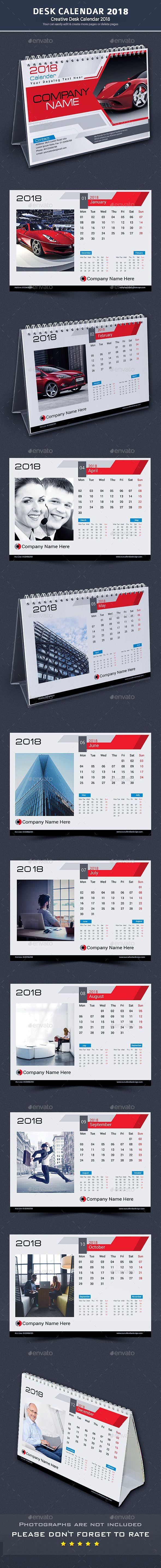 Desk #Calendar 2018 - Calendars #Stationery Download here:  https://graphicriver.net/item/desk-calendar-2018/20387146?ref=alena994