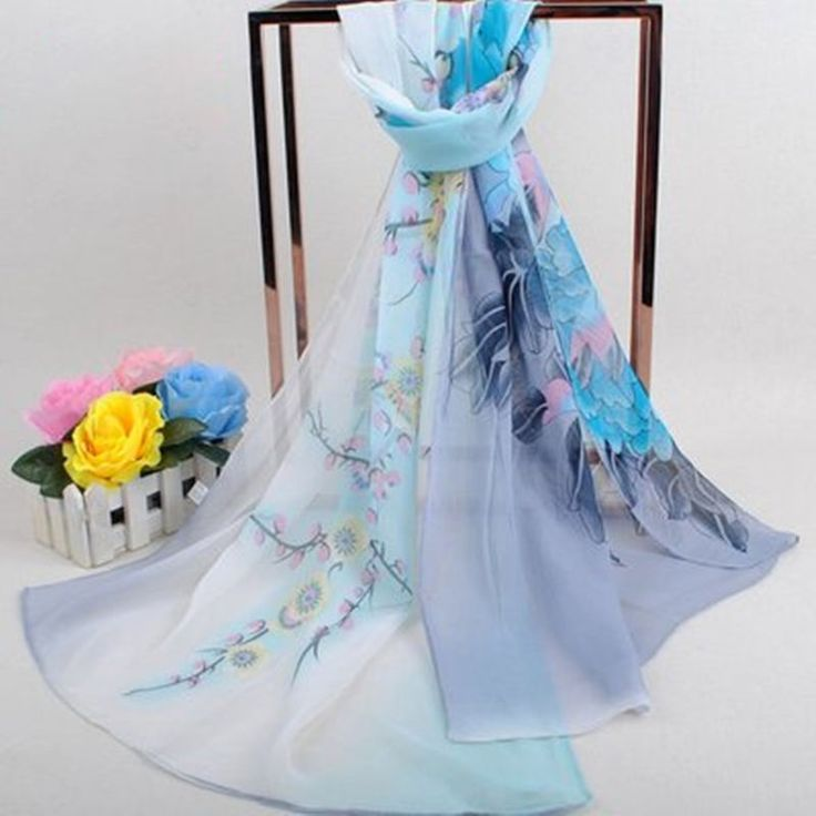 Spring Fashion Lady's Rich Flower Georgette Chiffon Beach Scarf Blue