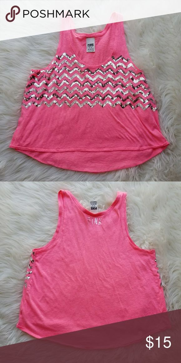 VS Pink Tank Top Embellished chevron pink tank top.   Brand: VS Pink Size: Medium Condition: perfect, no flaws amd never worn.  #vs #vspink #victoriassecret #victoriassecrerpink #pink #silver #chevron #heathered #summer #summerfashion #summerstyle #fashion #style #cheap #styleforcheap #xoxopf #bundleandsave PINK Victoria's Secret Tops Tank Tops