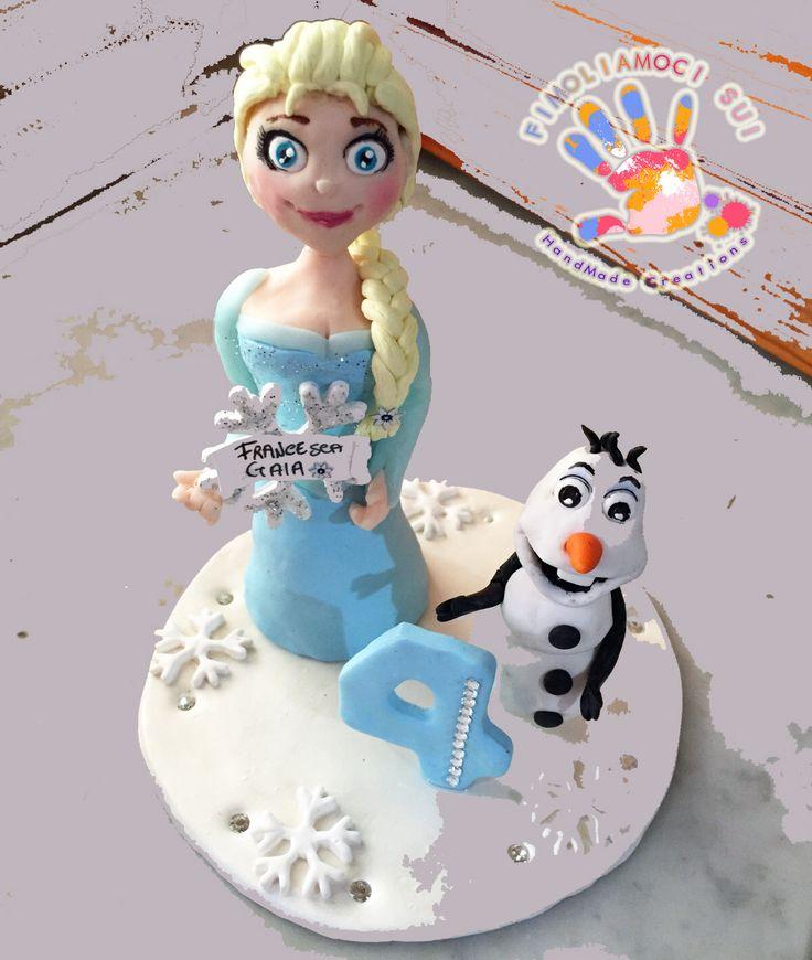 Cake Decoration Olaf : Cake Topper in fimo con Elsa e Olaf di Frozen Cake ...