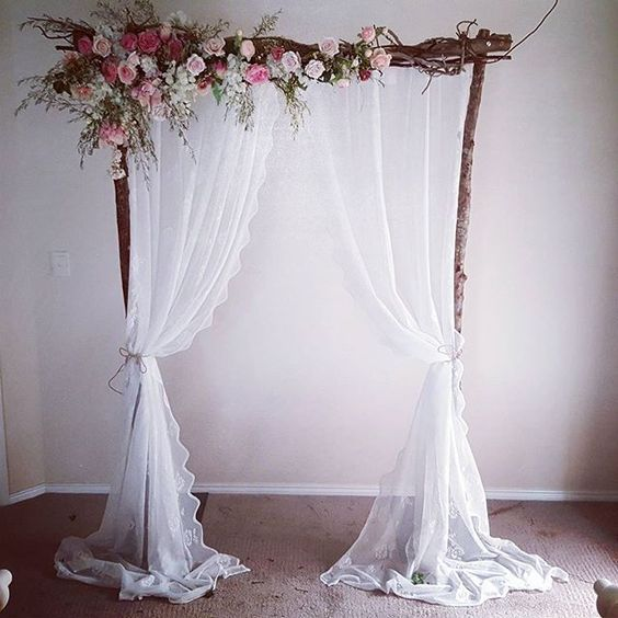 Wedding Altar Hire: Vintage Wedding Arbour. With Lace Curyains And Fresh