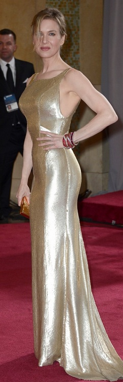 Renee Zellweger in Carolina Herrera and Van Cleef and Arpels jewels at The Academy Awards 2013