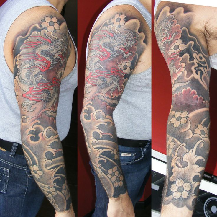 "Manica giapponese con drago e ""sakura"" (fiori di ciliegio) - Dragon and ""sakura"" (Cherry blossoms) japanese sleeve"