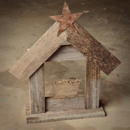 Rustic Nativity Scene with Reclaimed Wood