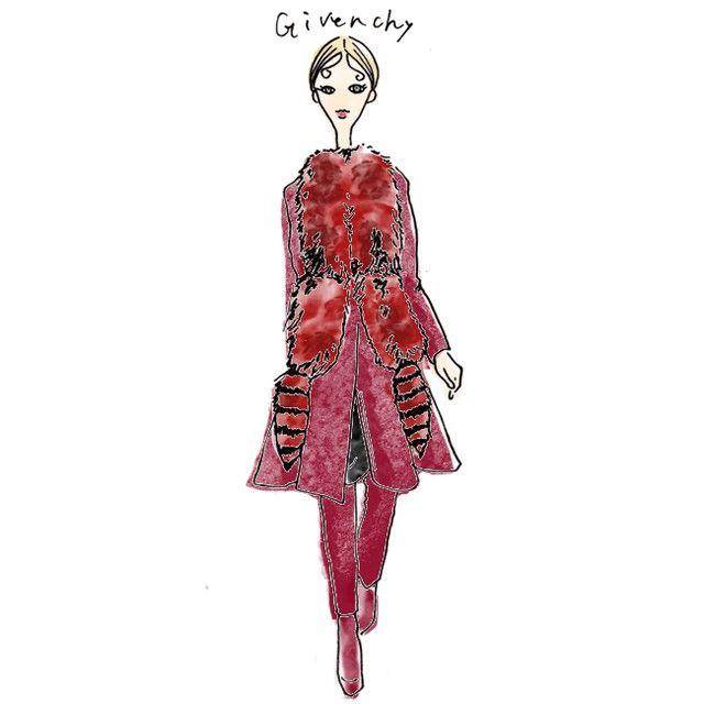 red attack!@givenchyofficial#givenchy#illustration#instaart#illust#fashionillustration#fashion#drawing#sketch#instafashion#artwork#girl#dress#catwalk#ジバンシー#イラスト#ファッションイラスト