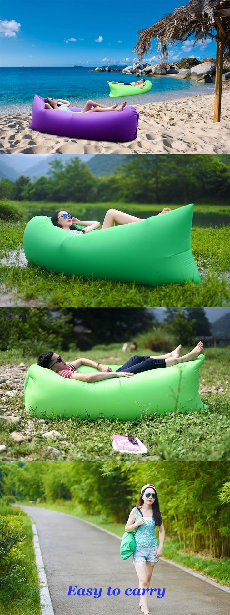 Inflatable camping sofa! Easy to carry. Perfect for all outdoor activities such as travelling, camping, barbecuing, festivals, beach trips, hanging out in the park and many more.