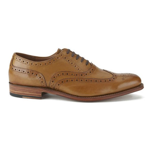 Grenson Men's Dylan Leather Wingtip Brogues - Tan (3.695.910 IDR) ❤ liked on Polyvore featuring men's fashion, men's shoes, men's oxfords, tan, mens brogue shoes, mens lace up shoes, mens tan brogues, mens oxford shoes and mens leather shoes