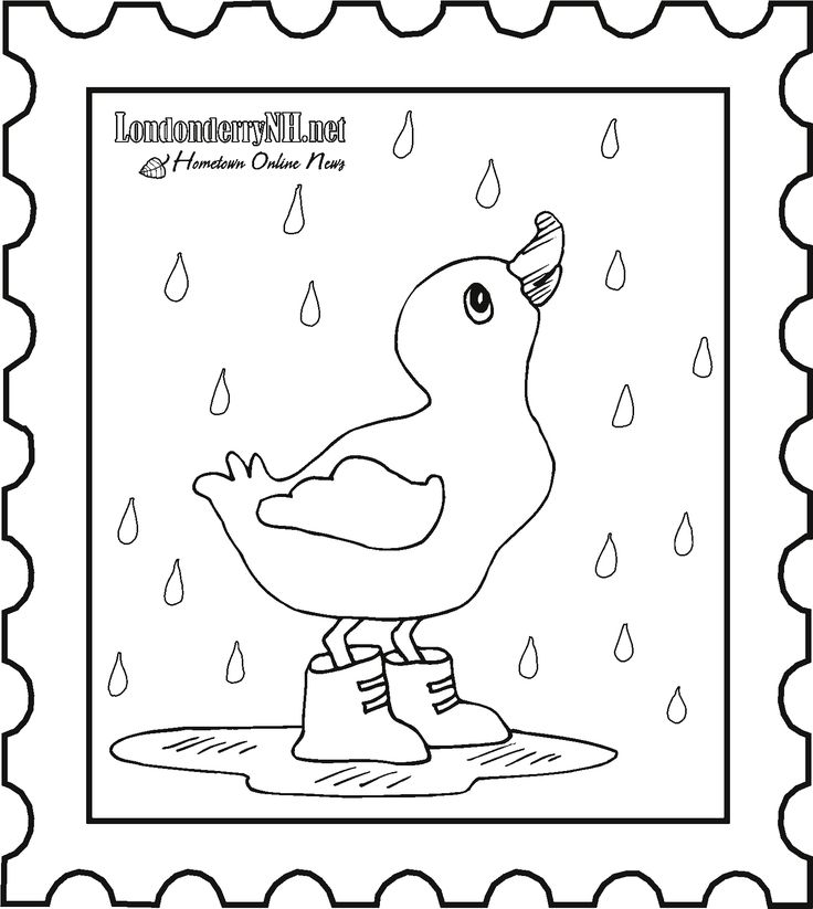 Duck in the rain colouring page