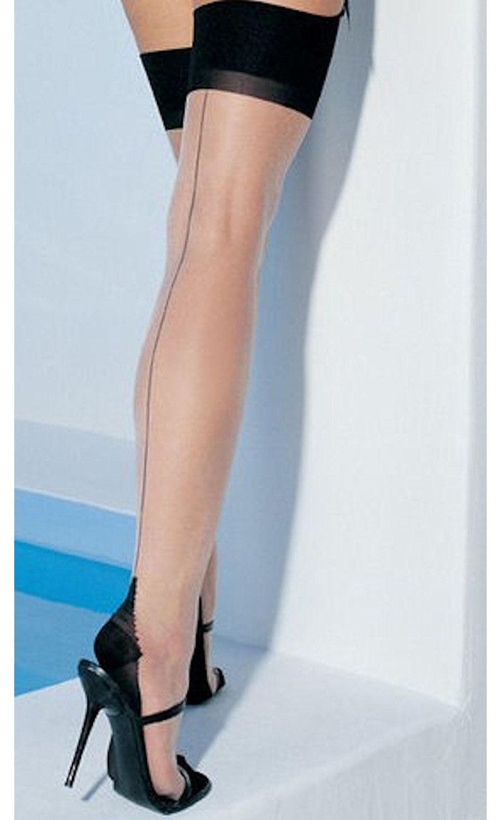 These sexy vintage inspired stockings feature sheer nude color lycra with a black seam up the back and a retro style cuban heel. Seamed stockings are a must have to complete your retro look with skirt