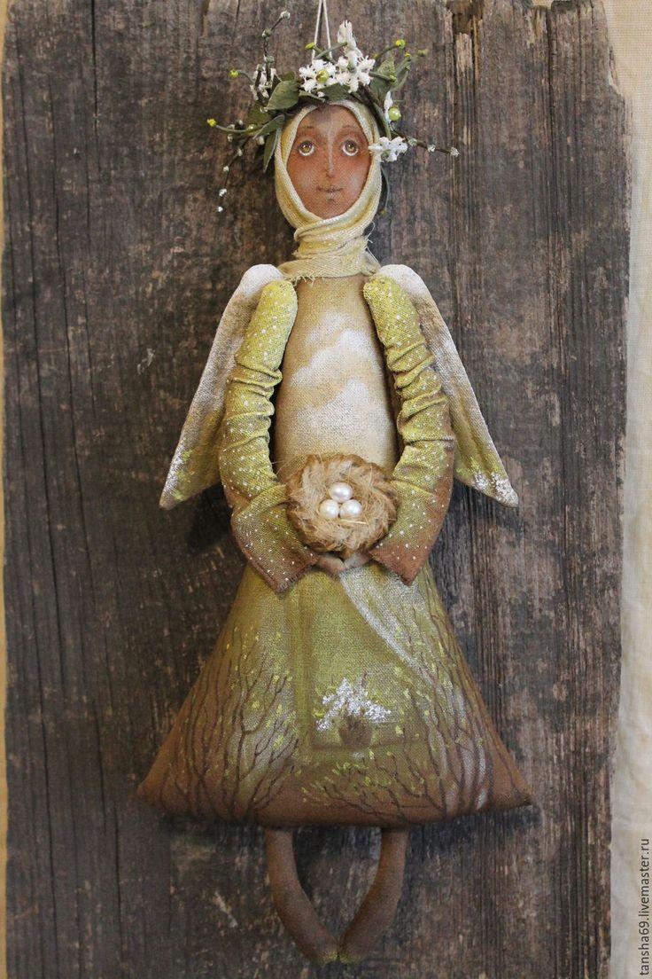 Купить Пробуждение.Ангел. - хаки, текстильная кукла, ароматизированная кукла, интерьерная кукла, ангел, ткань