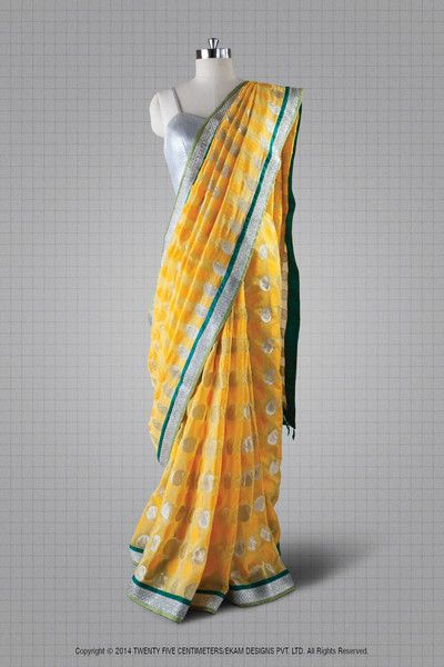Mango Yellow Sari with Green and silver border by Twenty Five Centimeters