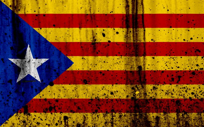 Download wallpapers Catalan flag, 4?, grunge, flag of Catalonia, Europe, national symbols, Catalonia, Spain