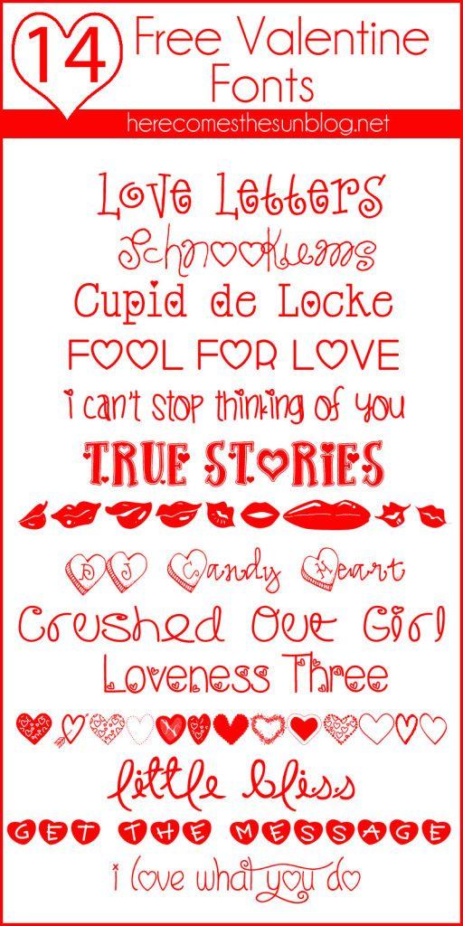 14 Free Valentine Fonts I herecomesthesunblog.net