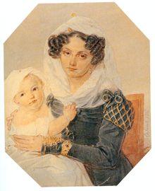 Maria Volkonskaya, nee Raevskaya, with her baby Nicolai