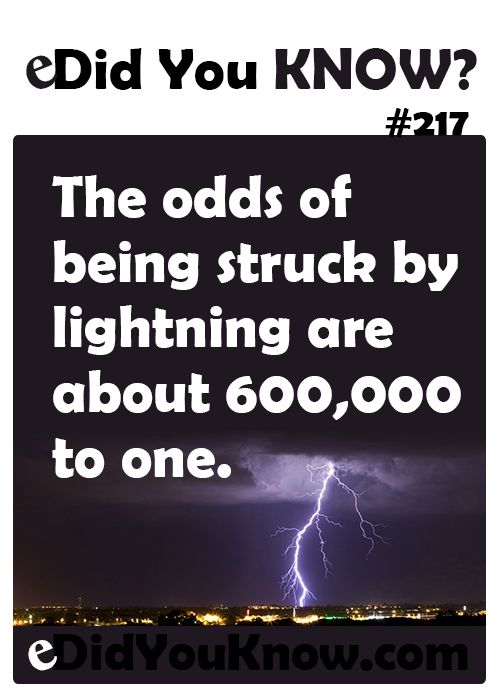 http://edidyouknow.com/did-you-know-217/ The odds of being ...