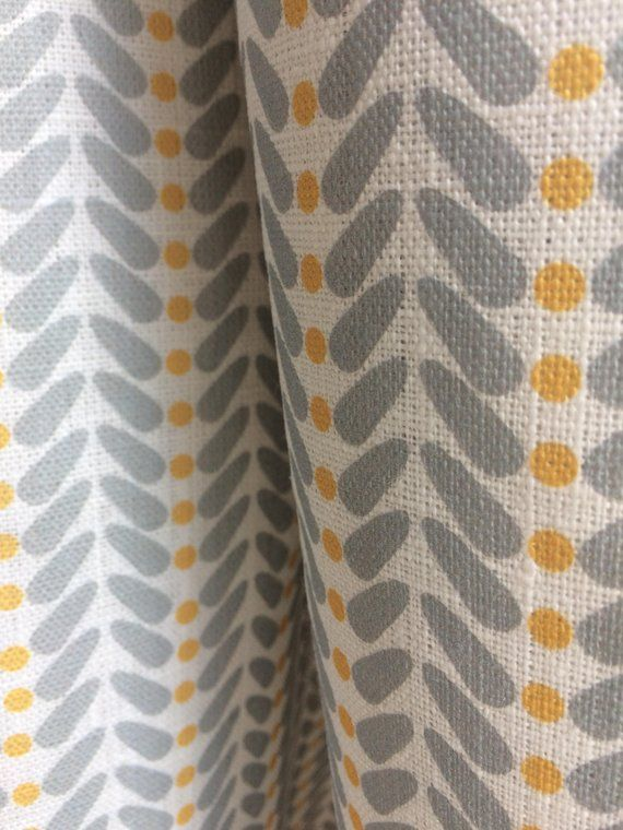 Scandi Dots White Mustard Linen Curtain Fabric English Yellow And Grey Curtains Grey Curtains Linen Curtains