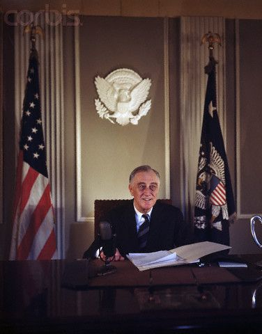 President Franklin Delano Roosevelt (1933-1945) in the Oval Office of the White House. He led the United States through World War II.