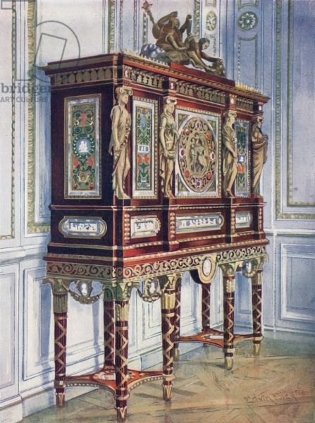 Jewel Cabinet of Queen Marie Antoinette, made of mahogany, gilt, inlaid, carved, and with painted plaques.