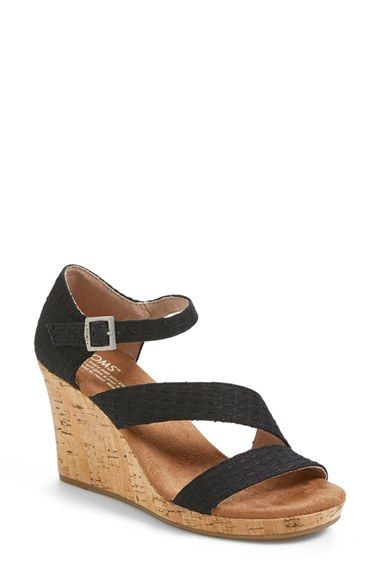 TOMS 'Clarissa' Wedge Sandal. Thinking about getting these. If I can figure out what size to order (I own various TOMS in about four different sizes.)