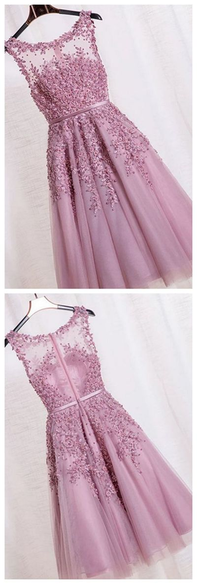 Elegant Appliques Beaded Homecoming Dresses, Tulle Printing Short Prom Dress HCD61   Short Prom Dresses, Homecoming Dresses, Prom Gowns, Party Dresses, Graduation Dresses, Short Prom Dresses, Gowns Prom, Cheap Prom Gowns on Line
