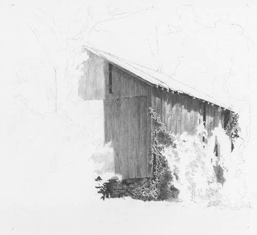 Landscape tutorial in pencil.