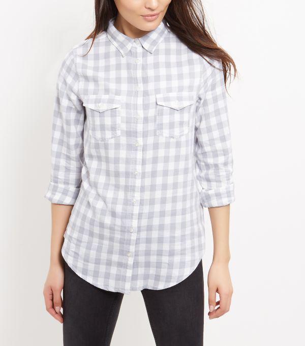 Grey Gingham Check Double Pocket Boyfriend Shirt  | New Look