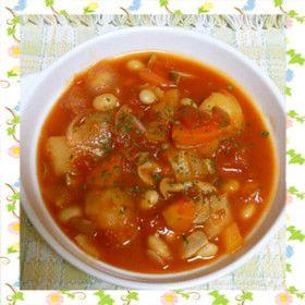 トマト缶と大豆のスープ