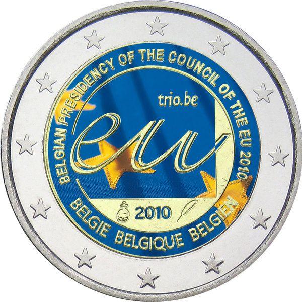 """N♡T.Belgien 2 Euro """"EU-Ratspräsidentschaft"""" 2010 coloriert"""