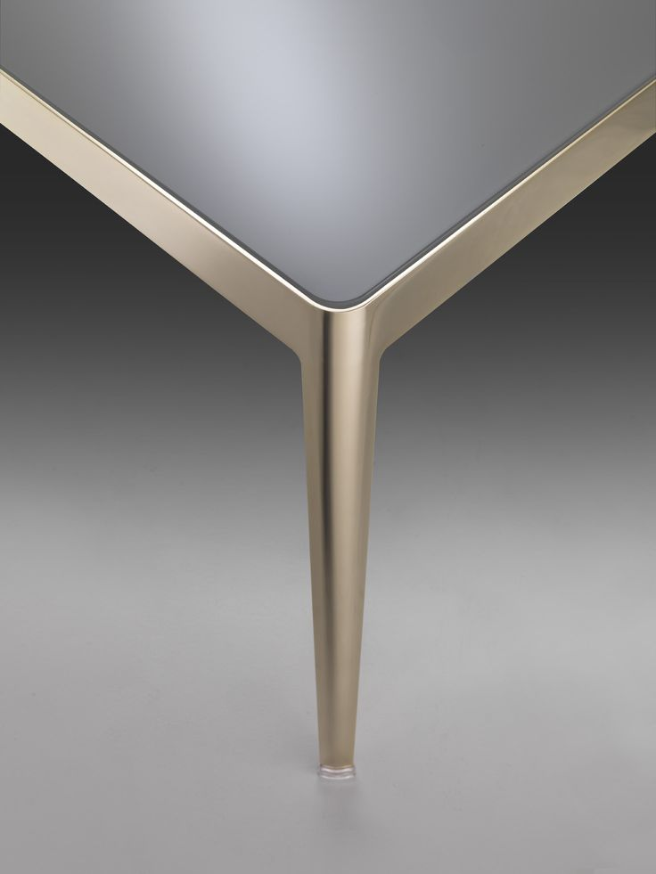 FLEXFORM CIAO SMALL TABLE WITH CHAMPAGNE METAL FRAME.