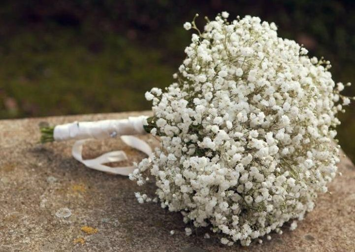 Paniculata bouquet, babys breath? Krissy I have seen this before and it turns out really beautiful and is very simple and elegant...pretty, huh?
