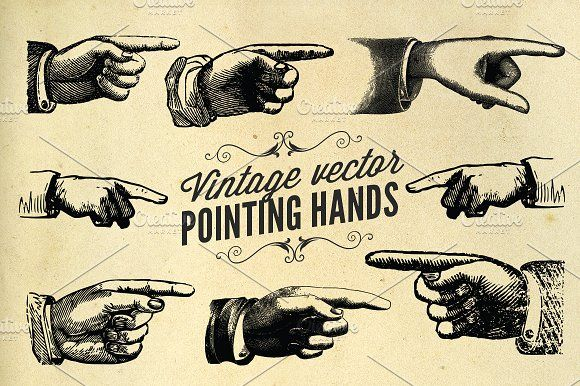 Vintage vector pointing hands by Illusiongraphic on @creativemarket