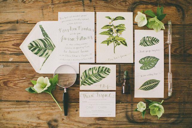Тренды 2016 года: зеленые листья, пальмы и тропики, листья на полиграфии - The-wedding.ru