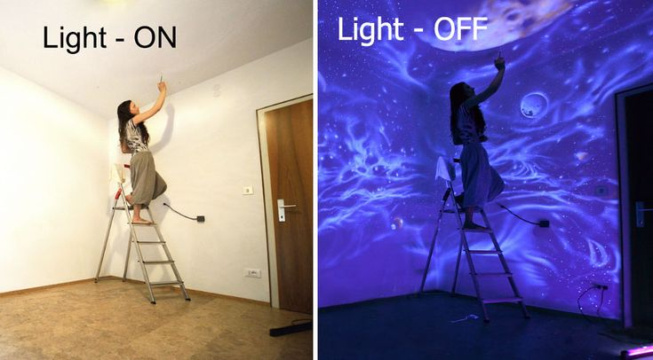 Vienna, Austria-based artist Bogi Fabian uses glow-in-the-dark and black light-reactive paints to transform rooms into otherworldly getaways in distant galaxies, jungles, caves or underwater.