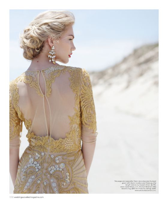 Gold beaded dress by Naeem Khan, earrings by Erickson Beamon. Featured in the Summer 2014 issue of Weddings Unveiled. Photographed on the beach at Seabrook Island in South Carolina.