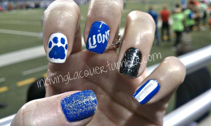Lions football nails