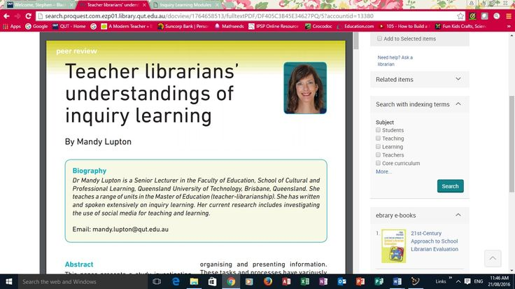 Lupton introduces the idea of the added dimension to the role of the 21st century Teacher-librarian. From traditional aspects ... comes the added role of undertaking inquiry learning into the Australian curriculum. Lupton's article ... to see more: http://stephencrockerskfl.blogspot.com.au/