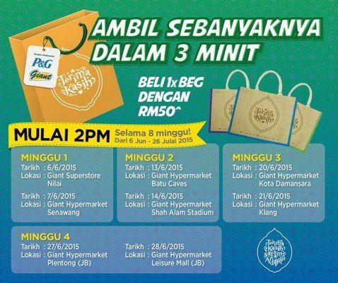 6-28 Jun 2015: Giant Hypermarket Purchase a bag and grab as many items as you can