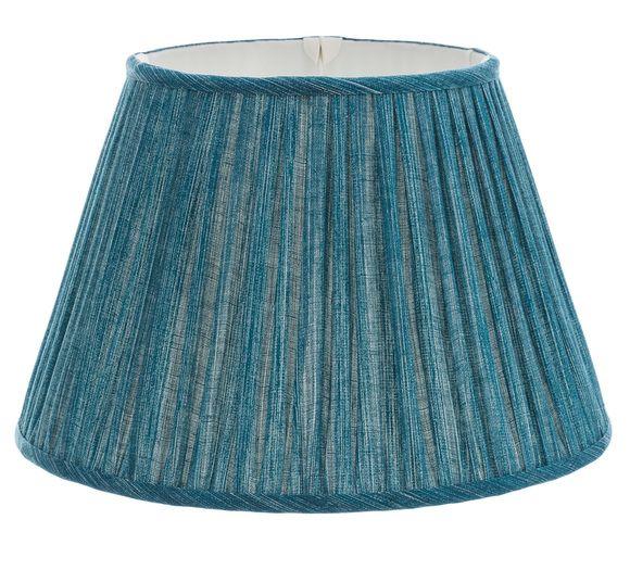 Fermoie 18 Inch Gathered Bedwyn Teal Plain Light Linen Lamp