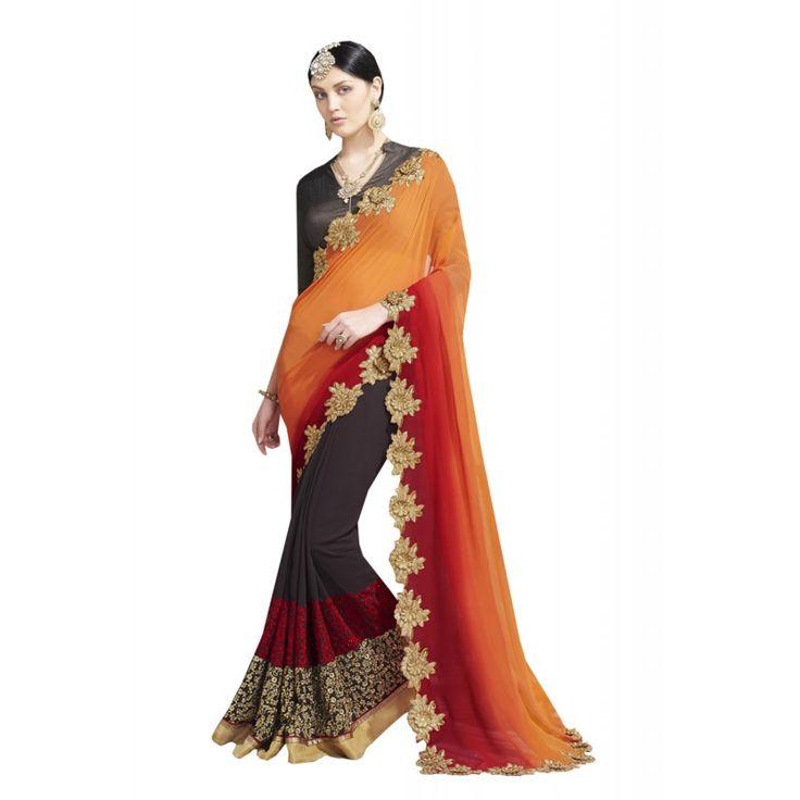 Apricot Saree With Nice-looking Plain Pallu