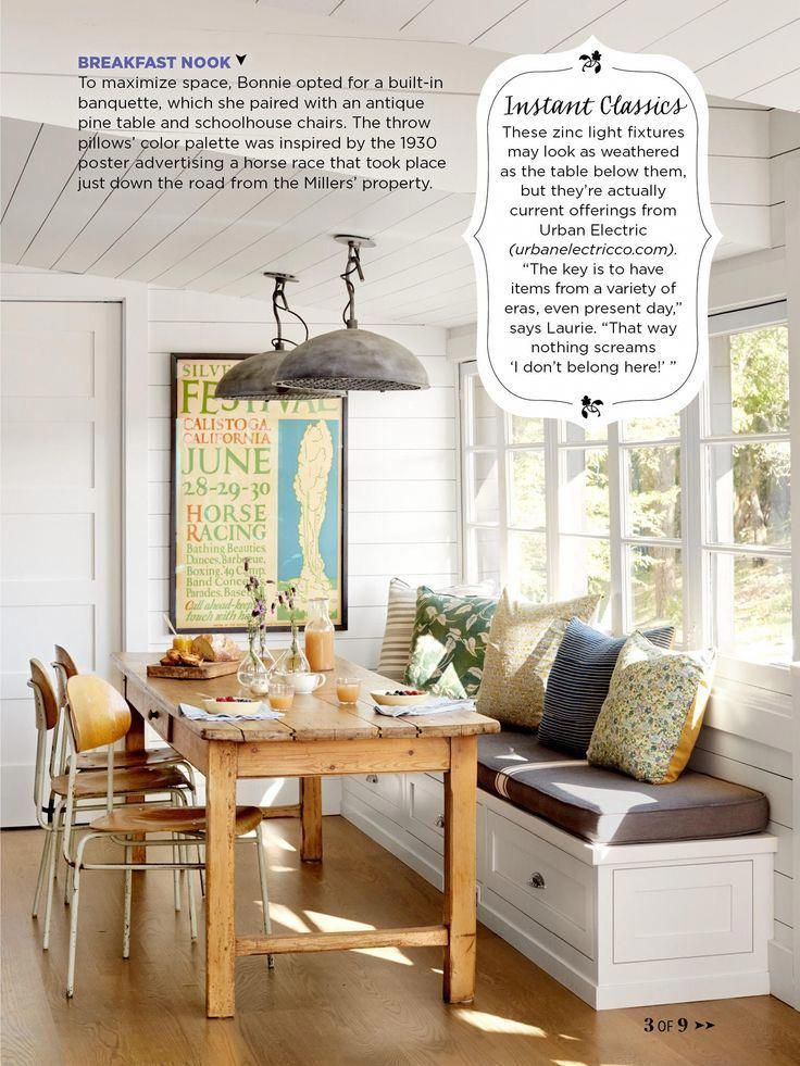 Breakfast Nook With Built In Bench Rustic Table Industrial Lighting Paneled Walls Rugs Dining Nook House And Home Magazine Home