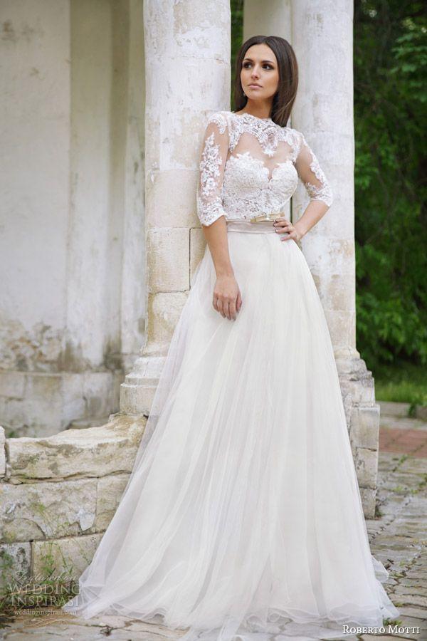 roberto motti 2015 melissa #wedding dress illusion neckline half sleeve #bridal #weddingdresses http://weddinginspirasi.com/2014/09/22/roberto-motti-2015-wedding-dresses/