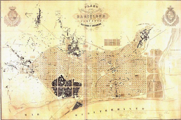 Ensanche de Barcelona (distrito que ocupa o centro da cidade): Na Rev. Industrial, e aumento demográfico, a cidade perde as muralhas (1854-56). Ildefonso Cerdá, um dos pais do urbanismo moderno, sugere uma cidade jardim, mas não agrada à burguesia: ausência de classes / quadras de 113,3 m: edifícios só em 2 faces, 16m de altura (3 and.) e máximo 14 m de profundidade, ventilação dos 2 lados / ruas de 20 m. O governo central de Madrid impõe o projeto, pressionado, sofrerá ajustes.