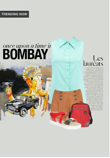 'Once upon a time in Bombay' by me on Limeroad featuring Brown Shorts with Back Strap Red Sandals