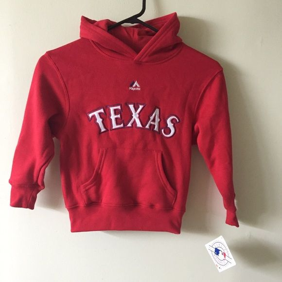 NWT! Majestic Texas MLB red sweatshirt kids 5-6 New with tags Majestic Shirts & Tops Sweaters