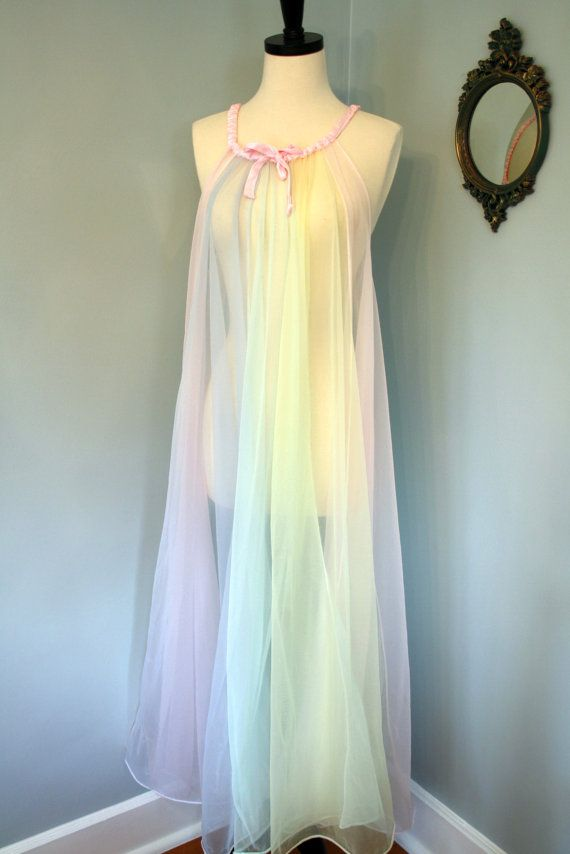 oh so sexy! the colours of spring! 60s chiffon nightgown ...