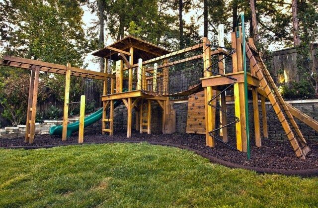 large wooden play area for residential yard