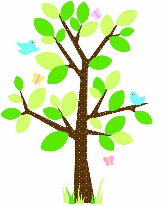 Väggdekor Wallstickers Prickigt Träd med fåglar och fjärilar i gruppen BABY & BARNAVDELNINGEN / Barnrum i Grönt hos HouseofHedda.com (Ro2WallsPRicketTrad )