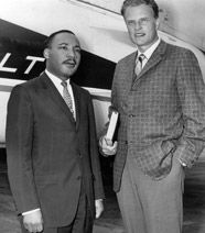 """Dr. Martin Luther King, Jr. and Dr. Billy Graham.  """"Had it not been for the ministry of my good friend Dr. Billy Graham, my work in the civil rights movement would not have been as successful as it has been.""""~MLK. Upon hearing of the assassination: """"I was almost in a state of shock. Not only was I losing a friend through a vicious and senseless killing, but America was losing a social leader and a prophet, and I felt his death would be one of the greatest tragedies in our history.""""~Graham"""
